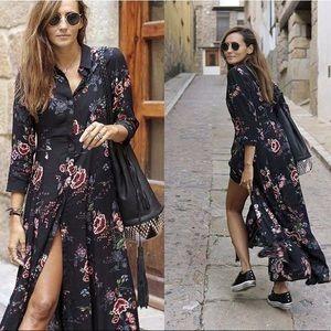 Zara Buttondown Maxi Dress s small floral